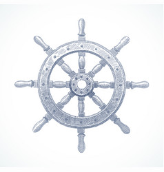 hand drawn - ship steering wheel vector image
