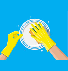 Hand in gloves with sponge wash plate vector