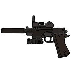 Handgun with an optical device vector image