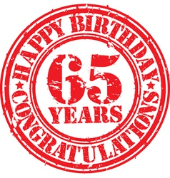 Happy birthday 65 years grunge rubber stamp vector image