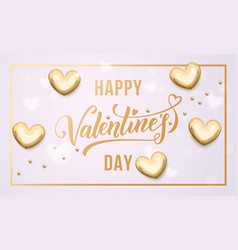 happy valentine day golden hearts greeting card vector image
