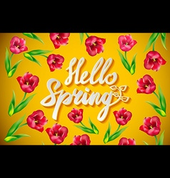 Hello Spring Poster Design in Realistic Colorful vector image