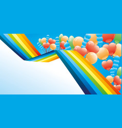 holiday banner with a rainbow and balloons vector image