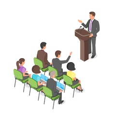 Isometric business presentation or political vector image