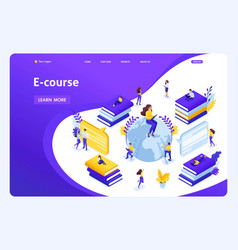 Isometric landing page for education vector