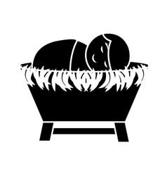 Jesus baby on straw cradle manger character vector