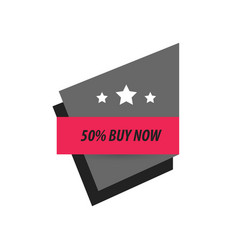 Label buy now and 3 star black pink vector