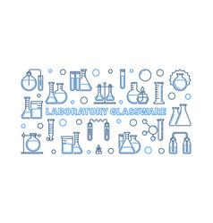 Laboratory glassware blue outline vector