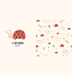 Ladybirds seamless pattern and surface design vector