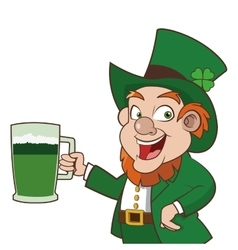 Leprechaun character holding beer icon vector