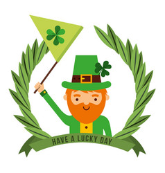 Leprechaun holding green flag with clover emblem vector