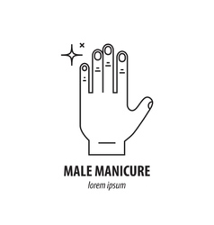 Line logo with the image of mens hands vector