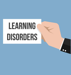 Man showing paper learning disorders text vector