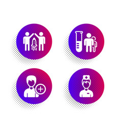 Medical analyzes add person and partnership icons vector