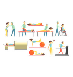 medical rehabilitation set physiotherapist and vector image