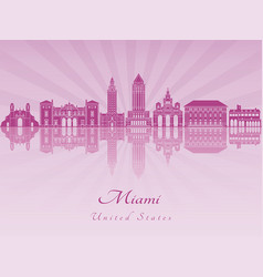 Miami skyline in purple radiant orchid vector