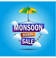 monsoon season sale rain umbrella shop vector image