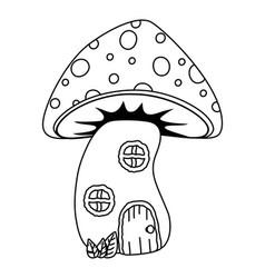 Mushroom house fairytale design vector