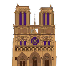 notre dame de paris cathedral france isolated vector image