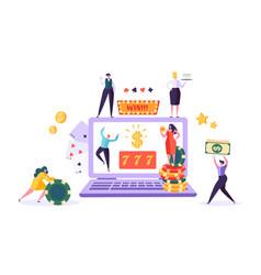 online gambling internet casino concept people vector image