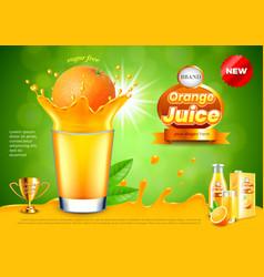 Orange in juice splashes ads background vector