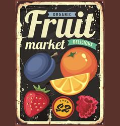 Organic fruit market vintage sign vector