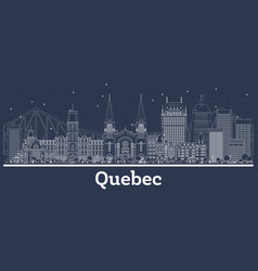 Outline quebec canada city skyline with white vector