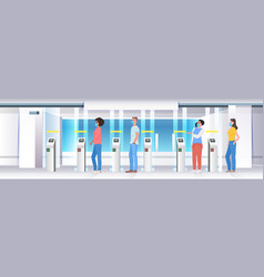 people going trought turnstile in subway vector image