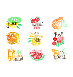 Percent fresh juice promo signs colorful set vector