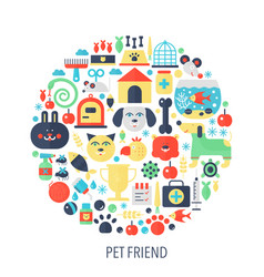 Pet friend flat infographics icons in circle vector