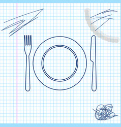 plate fork and knife line sketch icon isolated on vector image