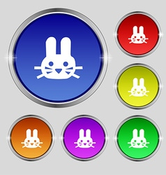 Rabbit icon sign Round symbol on bright colourful vector