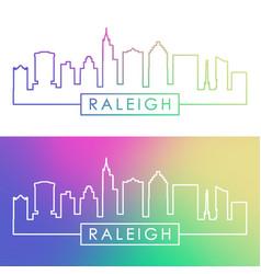 Raleigh skyline colorful linear style editable vector