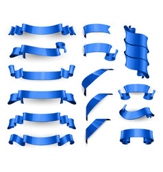 Realistic blue glossy ribbons large set vector