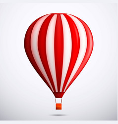 realistic hot air balloon red and white color vector image