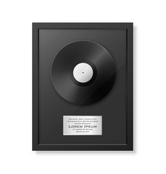 Realistic lp and label in glossy black vector