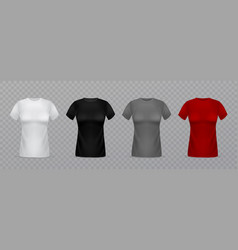 realistic women t-shirts 3d isolated female vector image