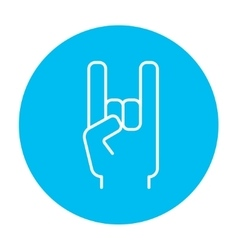 Rock and roll hand sign line icon vector image