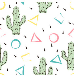 Seamless abstract modern cactus pattern on white vector