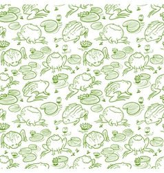 Seamless pattern with frogs vector
