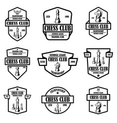 set chess club emblems design element for logo vector image