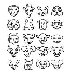 set cute kawaii cartoon animals vector image