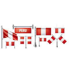 Set national flag peru in various vector