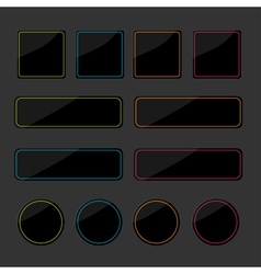 Set of black shiny web buttons with colored lines vector