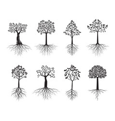 Set trees and black leaves vector