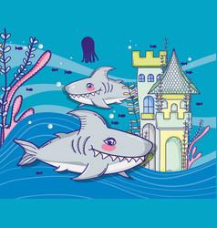 Sharks in sea cute cartoon vector