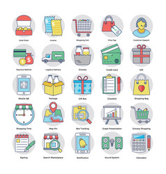 Shopping and commerce colored icons vector