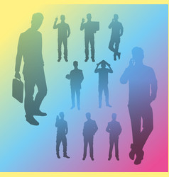 Silhouette people business vector