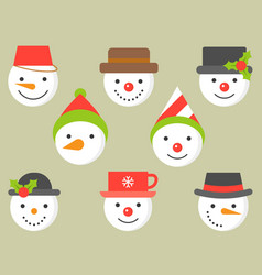snowman and various hat icon for winter and vector image