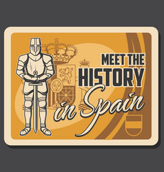 spain history flag royal and knight vector image